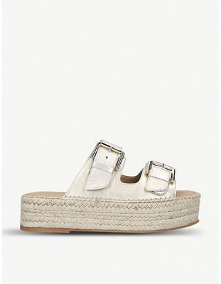Carvela Kleverer metallic-leather flatform sandals