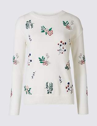 Marks and Spencer Pure Cotton Floral Embroidered Jumper
