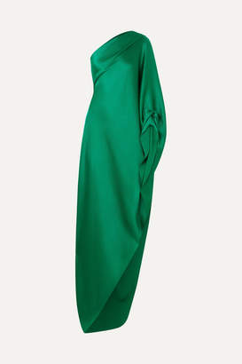 Roland Mouret Ritts Asymmetric Draped Hammered Silk-blend Satin Gown - Emerald