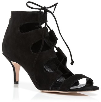 Delman Sandals - Tryst Suede Lace Up Mid Heel $448 thestylecure.com