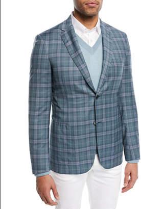 Brioni Plaid Woven Wool Blazer, Gray