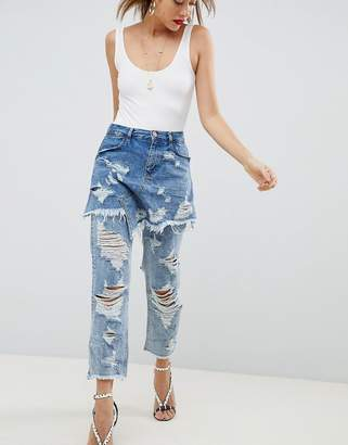 Asos DESIGN FLORENCE AUTHENTIC STRIAGHT Leg Jeans With Rips and Skirt Overlay