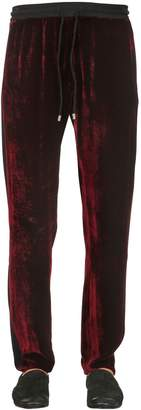 Triple Rrr Viscose & Silk Velvet Sweatpants
