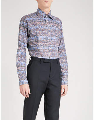 Eton Aztec-patterned slim-fit cotton shirt