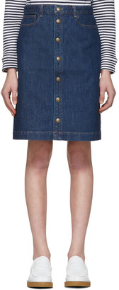 A.P.C. Blue Therese Skirt $190 thestylecure.com