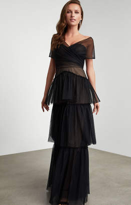 BCBGMAXAZRIA Triple Tiered Tulle Gown
