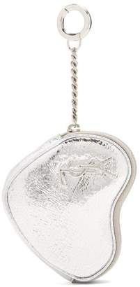 Saint Laurent Love Heart Shaped Coin Purse - Womens - Silver