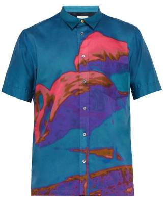 Paul Smith Flamingo Print Cotton Poplin Shirt - Mens - Blue