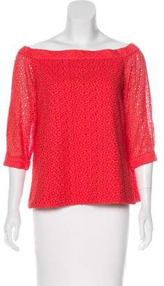 Tibi Eyelet Off-The-Shoulder Top