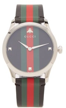 Gucci G Timeless Web Striped Leather Watch - Womens - Black