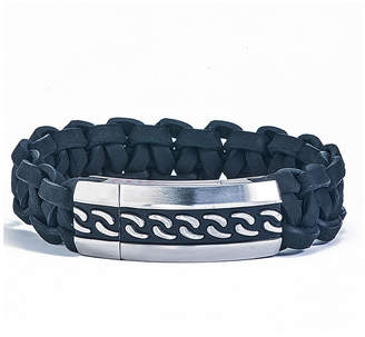 FINE JEWELRY Mens Braided Black Leather and Stainless Steel ID-Style Bracelet