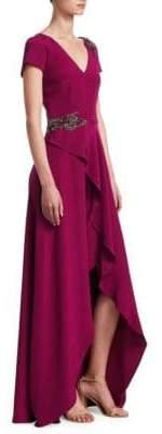 David Meister Embellished Ruffle Slit Gown
