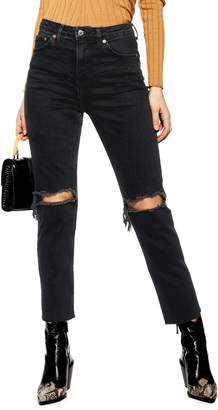 Topshop Ripped Straight Jeans 32-Inch Leg