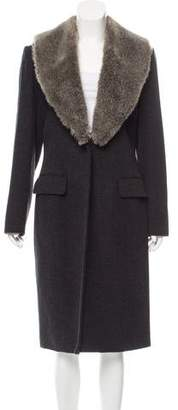 Oscar de la Renta Oscar by Faux Fur-Trimmed Wool Coat