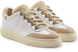 Hogan Leather and Suede Sneakers with Faux Shearling Insole