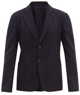 Giorgio Armani Single Breasted Wool Boucle Blazer - Mens - Blue