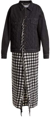 Quilted Denim Scarf Coat - Womens - Black White