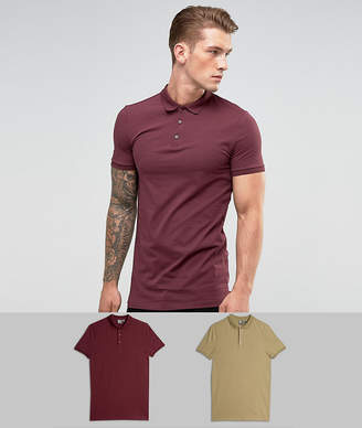 Asos DESIGN longline muscle fit jersey polo 2 pack SAVE