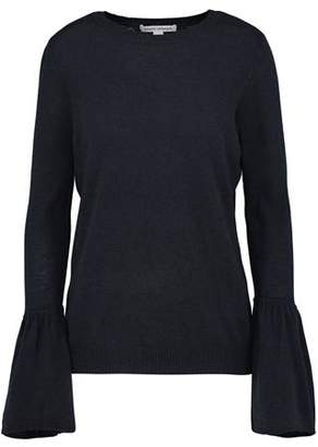 Autumn Cashmere Crew Neck Jumper with Ruffle Sleeves in Navy