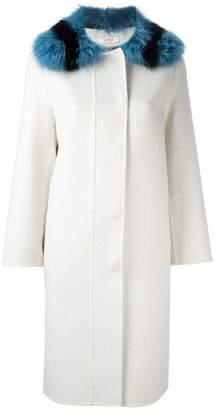 Liska fur collar single breasted coat