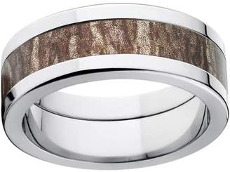 Mossy Oak Bottomland Men's Camo 8mm Stainless Steel Wedding Band with Polished Edges and Deluxe Comfort Fit