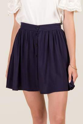 francesca's Cecilia Button Front Skater Skirt - Navy