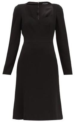 Dolce & Gabbana Sweetheart Neckline Crepe Dress - Womens - Black