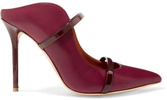 Malone Souliers by Roy Luwolt - Maureen 100 Patent-trimmed Leather Mules - Burgundy