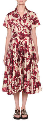 Antonio Marras Short-Sleeve Wrapped Floral Midi Shirtdress