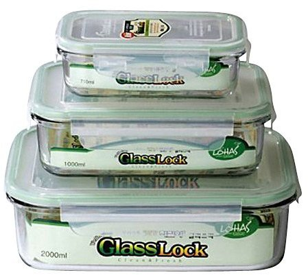 GlassLock Kinetic Rectangular Glass Food Storage Containers w/ Locking Lids (Set of 3)