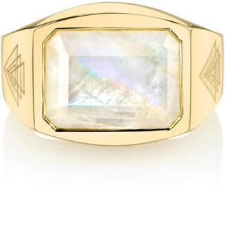 Ark Rainbow Moonstone Creation 18K Gold Moonstone Ring
