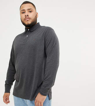 Tommy Hilfiger Big & Tall Icon flag logo regular fit long sleeve pique polo in charcoal marl