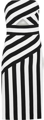 Milly Strapless Cutout Striped Crepe Dress