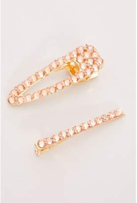 Quiz Rose Gold 2 Piece Diamante Hair Clips