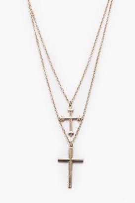 BoohoomanBoohooMAN Mens Metallics Double Row Cross Necklace, Metallics