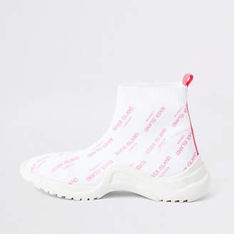River Island Girls white RI sock sneakers