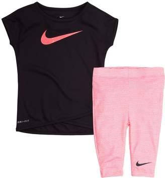 Nike Baby Girl Tunic Top & Striped Capri Leggings Set