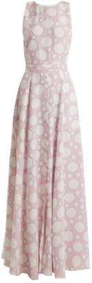 Rebecca De Ravenel Lola Polka Dot Print Crepe De Chine Dress - Womens - Pink Multi