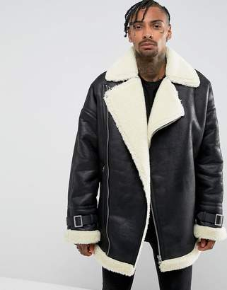 Asos Design Oversized Faux Shearling Biker Jacket in Black