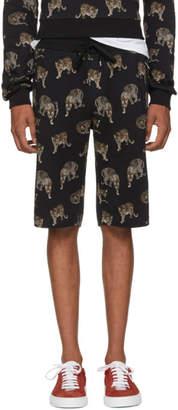 Dolce & Gabbana Black Leopard Bermuda Shorts