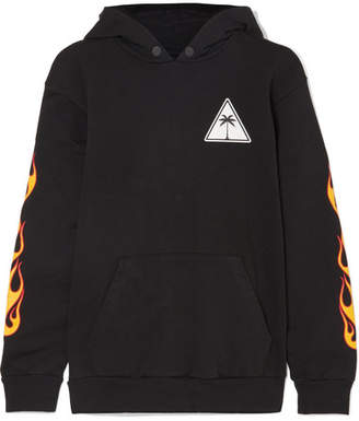 Palm Angels Printed Cotton-jersey Hooded Top - Black