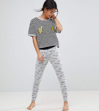 Asos Tres Cool Embroidered Banana Legging and Tee Pajama Set
