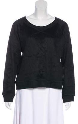 L'Agence Fur-Trimmed Long Sleeve Top