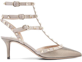 Valentino Garavani The Rockstud Metallic Textured-leather Pumps