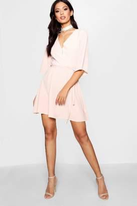 boohoo Ida Wrap Front Belted Wide Sleeve Dress