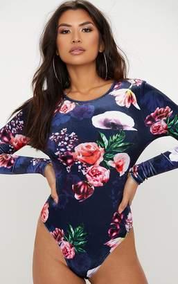 PrettyLittleThing Navy Printed Velvet Longsleeve Bodysuit