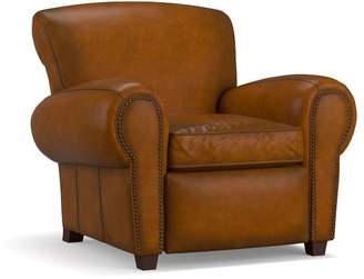 Pottery Barn Manhattan Leather Power Recliner with Nailheads