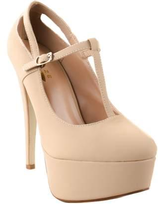 Glaze Shoes Women's Min-3 T-Strap Buckle High Heel Pumps with Platform 8.5 D(M) US
