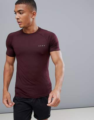 Asos 4505 muscle t-shirt with quick dry in burgundy