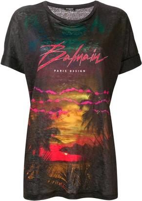 Balmain Tropical print linen T-shirt
